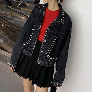 Beaded Buttoned Denim Jacket from Juanita