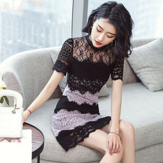 Lace Panel Short-Sleeve Dress from Juanita