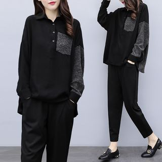 Set: Polo Collar Long-Sleeve Top + Cropped Harem Pants from Juanita