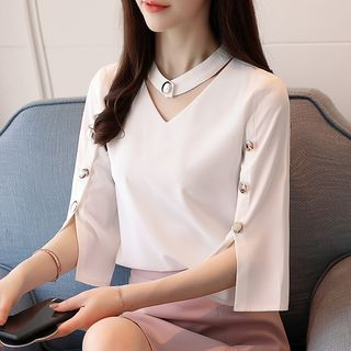 Slit-Sleeve Choker Blouse from Juanita