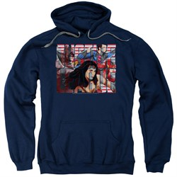 Justice League Movie Hoodie Rally Navy Sweatshirt Hoody from Justice League Movie Shirts