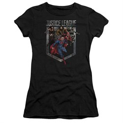 Justice League Movie Juniors Shirt Charge Black T-Shirt from Justice League Movie Shirts