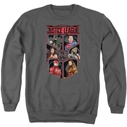 Justice League Movie League of Six Adult Charcoal Sweatshirt from Justice League Movie Shirts