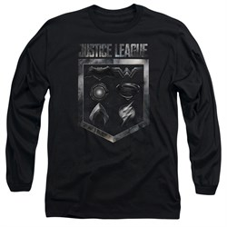 Justice League Movie Long Sleeve Shield of Emblems Black Tee T-Shirt from Justice League Movie Shirts