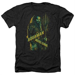 Justice League Movie Shirt Aquaman Heather Black T-Shirt from Justice League Movie Shirts