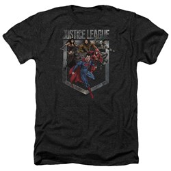 Justice League Movie Shirt Charge Heather Black T-Shirt from Justice League Movie Shirts