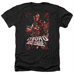 Justice League Movie Shirt Cyborg Profile Heather Black T-Shirt from Justice League Movie Shirts