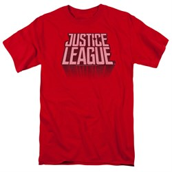 Justice League Movie Shirt Distressed Logo Red T-Shirt from Justice League Movie Shirts