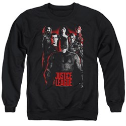Justice League Movie The League Red Glow Adult Black Sweatshirt from Justice League Movie Shirts