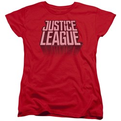Justice League Movie Womens Shirt Distressed Logo Red T-Shirt from Justice League Movie Shirts