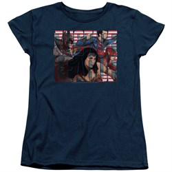 Justice League Movie Womens Shirt Rally Navy T-Shirt from Justice League Movie Shirts