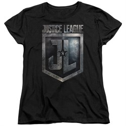 Justice League Movie Womens Shirt Shield Logo Black T-Shirt from Justice League Movie Shirts