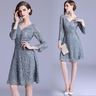3/4-Sleeve Lace A-Line Dress from Justina