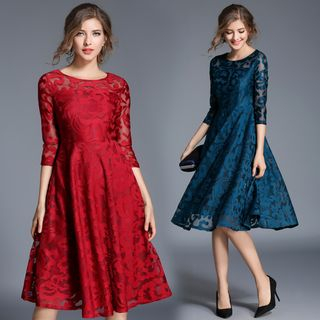 3/4 Sleeve Lace A-Line Dress from Justina