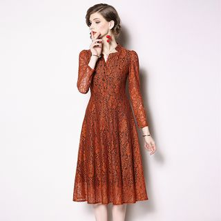 3/4-Sleeve Lace A-Line Midi Dress from Justina