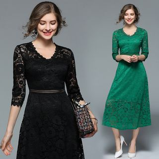 3/4-Sleeve Lace Midi Dress from Justina