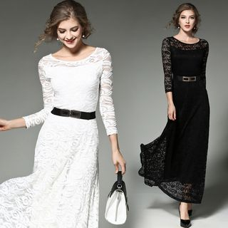 3/4 Sleeve Midi Lace Dress from Justina