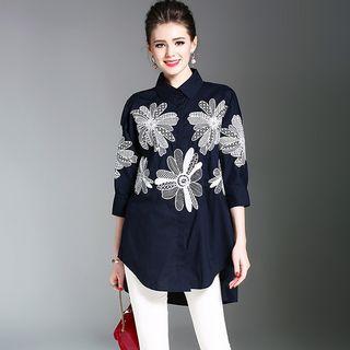 Flower Embroidered 3/4 Sleeve Blouse from Justina