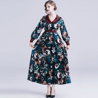 Flower Print Long-Sleeve Midi A-Line Dress from Justina
