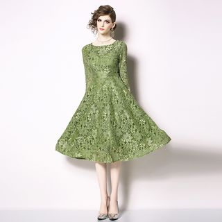 Lace 3/4-Sleeve A-Line Dress from Justina