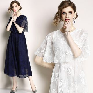 Lace Short Sleeve Midi Dress from Justina