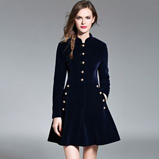 Long-Sleeve Buttoned A-Line Dress from Justina