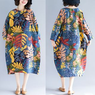 Long-Sleeve Leaf Print Midi Dress Multicolor - One Size from Justina