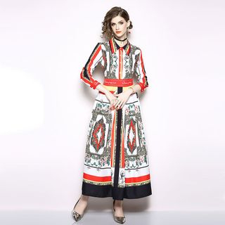 Long-Sleeve Printed A-Line Maxi Dress from Justina