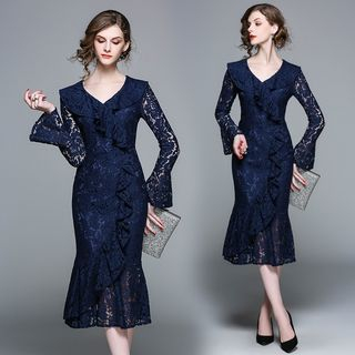 Long-Sleeve Ruffled Lace Dress from Justina