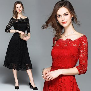 Off Shoulder Elbow-Sleeve Lace Cocktail Dress from Justina