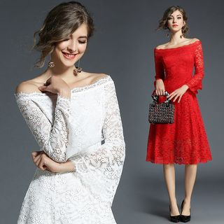 Off-Shoulder Ruffled Lace Midi Dress from Justina