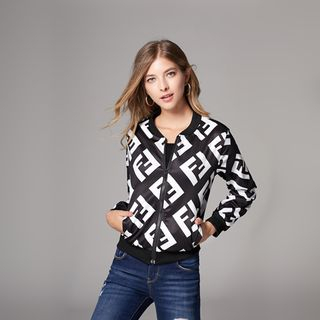 Patterned Bomber Zip Jacket from Justina