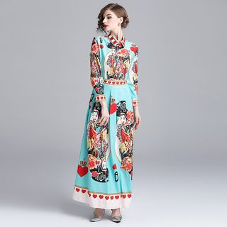 Printed Long-Sleeve Maxi A-Line Dress from Justina