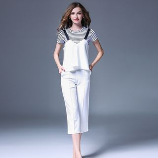 Set: Striped Short-Sleeve T-Shirt + Camisole Top + Cropped Wide-Leg Pants from Justina
