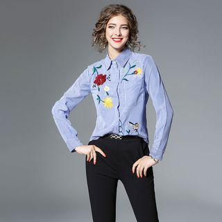 Striped Embroidered Shirt from Justina