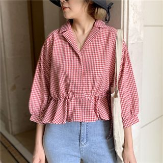 3/4-Sleeve Gingham Peplum Blouse from KANAMI