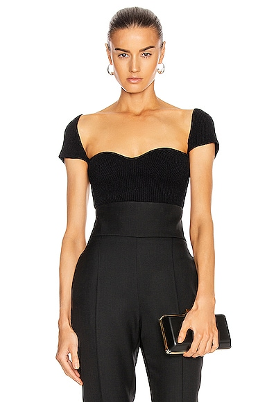 KHAITE Ista Cap Sleeve Top in Black from KHAITE