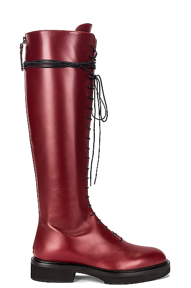 KHAITE York High Boots in Burgundy,Red from KHAITE