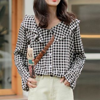 Gingham Ruffled Blouse from KIMOMIIN