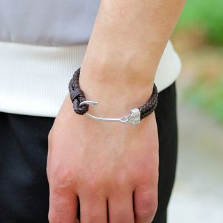 Alloy Hook Braided Genuine Leather Bracelet from KINNO