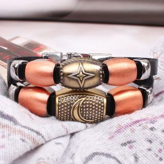 Alloy Moon / Star Faux Leather Bracelet As Shown In Figure - One Size from KINNO