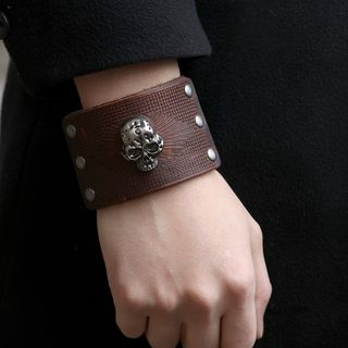 Alloy Skull Genuine Leather Bracelet from KINNO