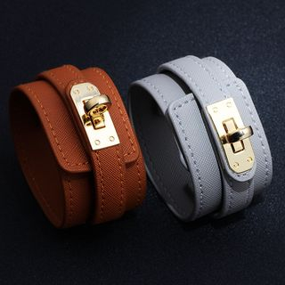 Faux Leather Twist-Lock Bracelet from KINNO