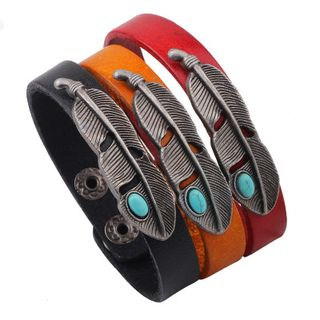 Feather Leather Bracelet from KINNO