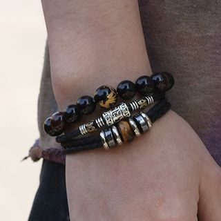 Genuine Leather Braided Layered Bracelet from KINNO