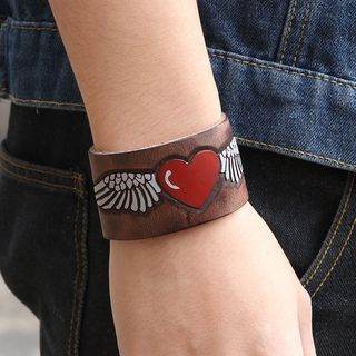 Genuine Leather Heart Print Bracelet from KINNO