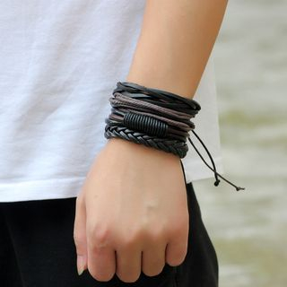 Set of 4: Genuine Leather Bracelets from KINNO