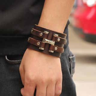 Genuine Leather Wide Bracelet from KINNO