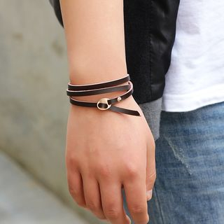 Layered Genuine-Leather Bracelet from KINNO