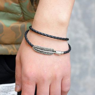 Metal Feather Braided Leather Bracelet from KINNO